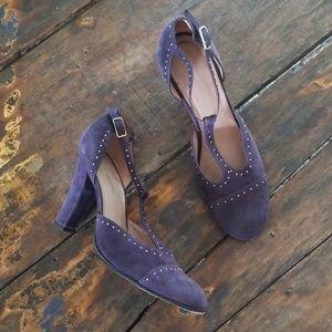 BCBG Maxazria plum purple t-strap leather heels